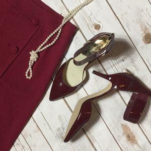 Michael Kors wine ankle wrap heel sz 9.5
